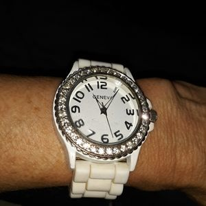 Vintage Geneva rubber watch with bling